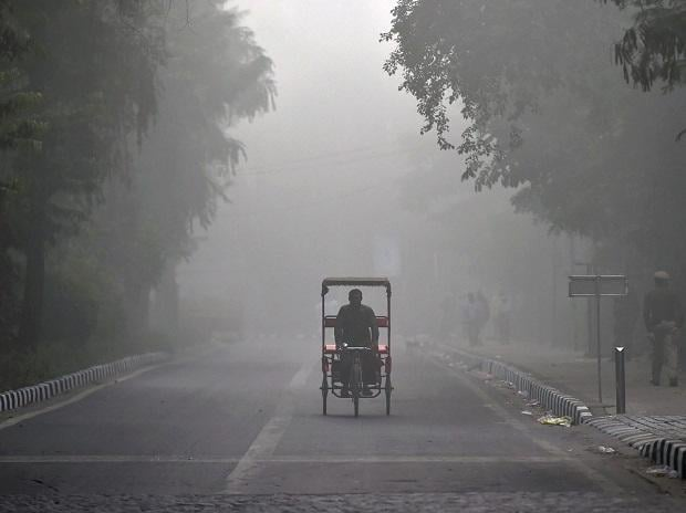 A Tri-Cyclist pedals through an empty road during morning fog in New Delhi on Tuesday