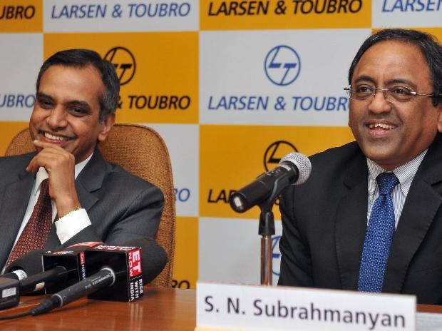 R Shankar Raman, CFO, L&T and S N Subrahmanyan, MD & CEO L&T at the Larsen & Toubro Limited's results press conference in Mumbai. Photo: Kamlesh Pednekar