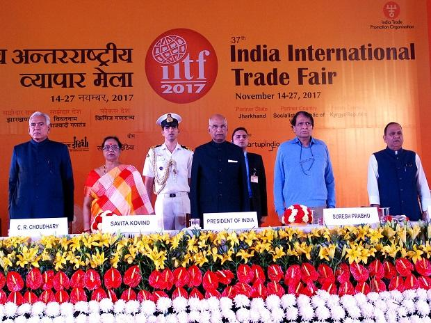 From Left to Right C R Chaudhary MOS of Consumer Affairs, Food and Public with President Wife Savita Kovind' President of India Ram Nath Kovind' Suresh  Prabhu  Minister of Commerce & Industry  and C P Singh Minister of Urban Development Housing & Tr