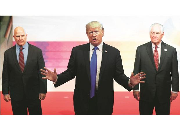 US President Donald Trump (centre), National Security Advisor HR McMaster (left) and State Secretary Rex Tillerson at the 31st ASEAN Summit in the Philippines on Tuesday. Photo: Reuters