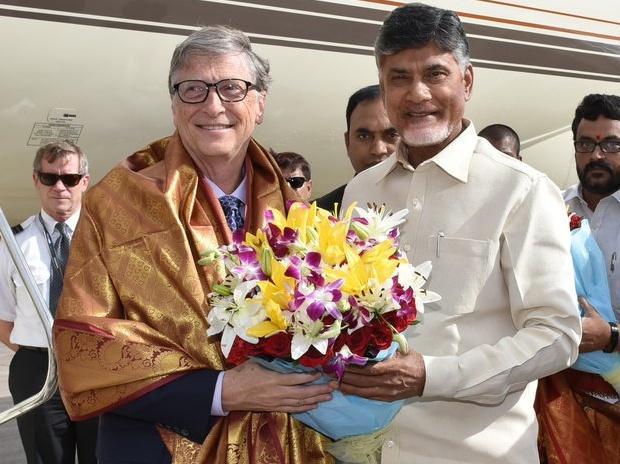 Bill Gates with Andhra Pradesh CM N Chandrababu Naidu. File Photo: Dalip Kumar