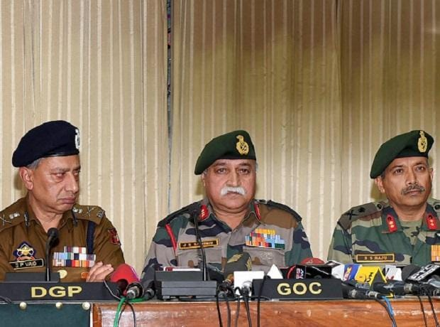 15 corps commander Lt Gen J S  Sandhu addressing a joint press confrence with DG police S P Vaid (Left Second), IG CRPF Zulfikar Hassan (Right) and other senior officers, at Badami Bagh Head Quarter in Srinagar