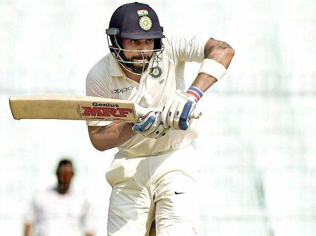 Indian captain Virat Kohli bats during the last day of the 1st Cricket Test Match betwen India and Sri Lanka at Eden Garden in Kolkata.