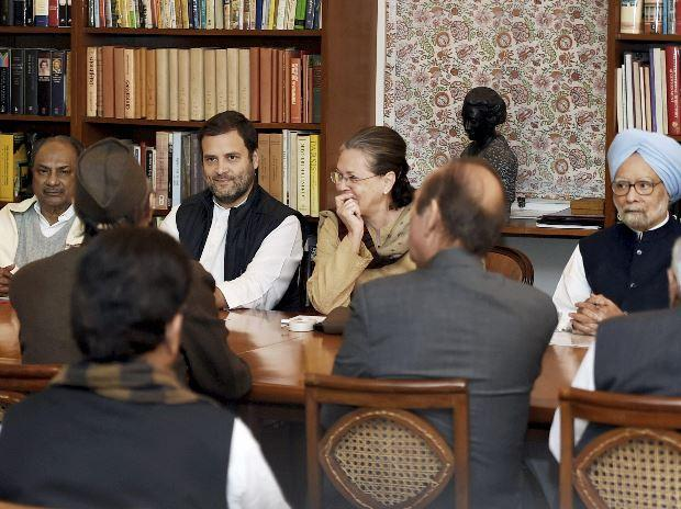 File photo: Congress President Sonia Gandhi, party Vice-President Rahul Gandhi, former PM Manmohan Singh and other party leaders at the Congress Working Committee meeting
