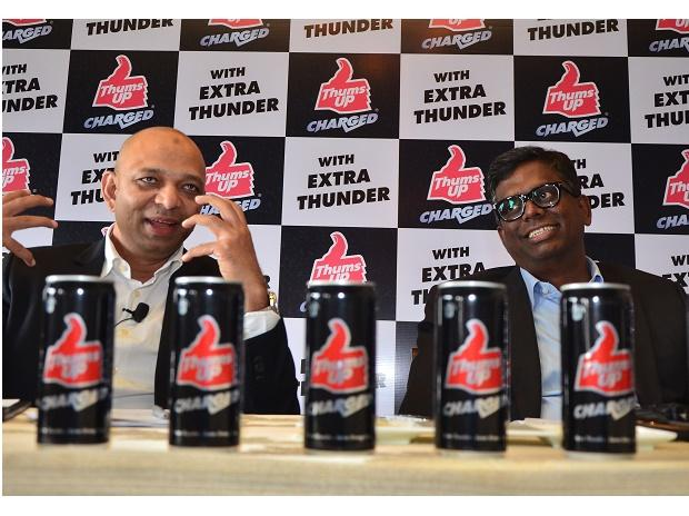 Ishteyaque Ahmed,VP-PAC Coca-Cola India and South west Asia and vijay Parasuraman,Vice President,marketing,coca-Cola India & South Asia at a press confrence to celebrate 40 years of Thums-Up with the launch of Thums-Up Charged. Photo: Sanjay K Sharma