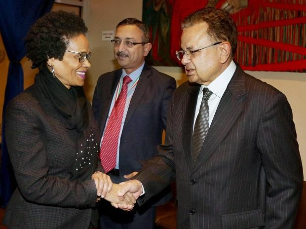 New York: India's Permanent Representative to the United Nations Syed Akbaruddin speaks during a reception in the honour of Justice Dalveer Bhandari (L) at the United Nations in New York. Photo: PTI Photo