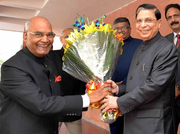 President Ram Nath Kovind being greeted by Chief Justice of India Justice Dipak Misra at the inauguration of the Constitution Day Celebrations at Vigyan Bhavan in New Delhi. (Photo: PTI/RB)
