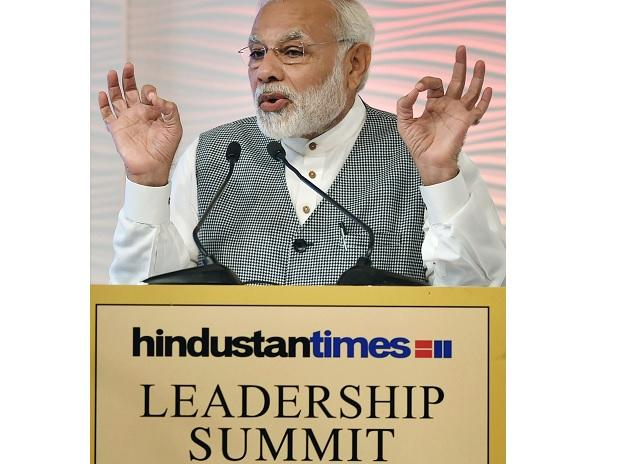 Prime Minister Narendra Modi speaks during the Hindustan Times Leadership Summit in New Delhi. (Photo: PTI)