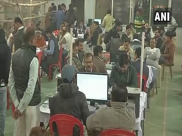 UP local body polls counting to begin shortly. Visuals from counting centre in Lucknow. (Photo: ANI)