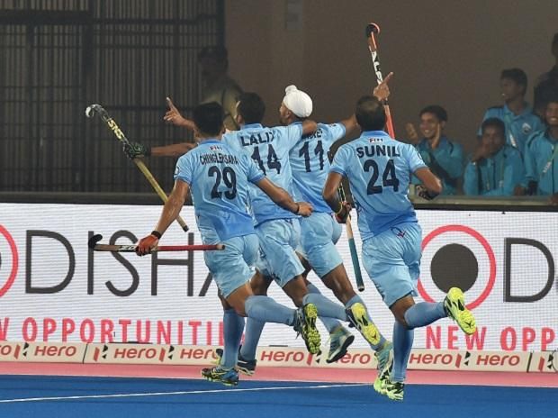 Indian player Mandeep Singh celebrates after scoring a goal against Australia at the Men's Hockey World League Final 2017 in Bhubaneswar on Friday. PTI