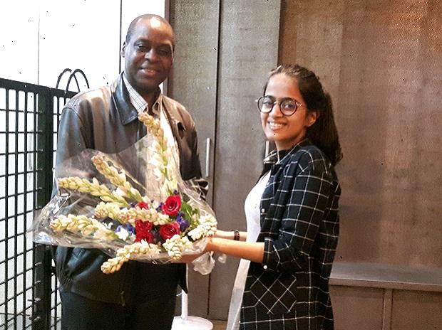 Neysa Sanghvi with Ernest Rwamucyo, the high commissioner of Rwanda to India