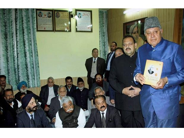 Former Jammu and Kashmir Chief Minister and National Conference President Farooq Abdullah during a party meeting in Jammu on Sunday. (Photo: PTI)