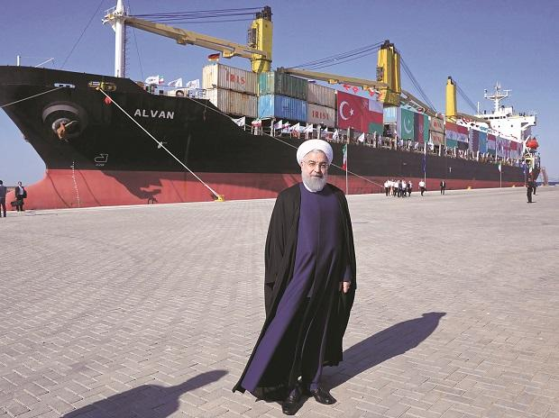Iranian President Hassan Rouhani at the inauguration of the newly built extension of the port of Chabahar near the Pakistani border on the Gulf of Oman in southeastern Iran on Sunday