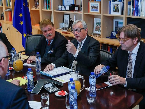 European Commission President Juncker, and European Union's chief Brexit negotiator Verhofstadt and his Brexit team from the European Parliament, attend a meeting at the EU Commission headquarters in Brussels. Photo: Reuters