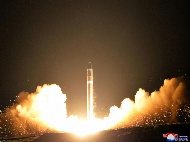 ILE - This Wednesday, Nov. 29, 2017, file image provided by the North Korean government on Thursday, Nov. 30, 2017, shows what the North Korean government calls the Hwasong-15 intercontinental ballistic missile, at an undisclosed location in North Ko