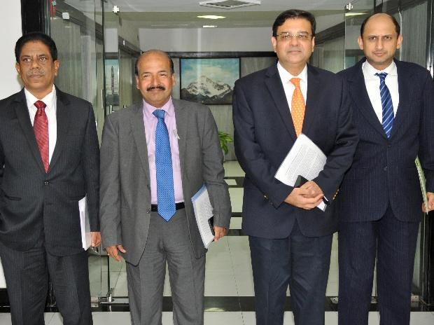 Deputy RBI governor B P Kanungo, Deputy RBI governor N S Vishwanathan, RBI Governor Urjit Patel and Deputy RBI governor Viral V Acharya during RBI monetary policy meeting.     Photo: Kamlesh Pednekar