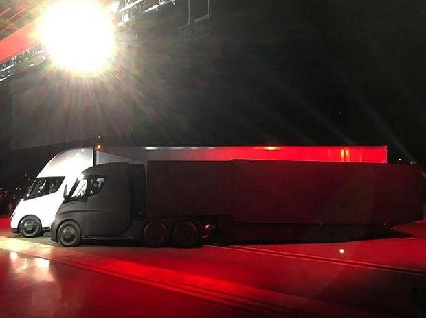 Tesla's new electric semi truck is unveiled during a presentation