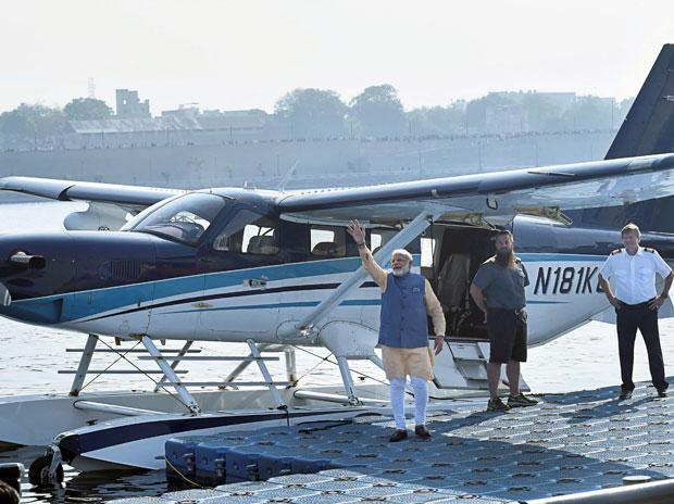 PM Narendra Modi flies in seaplane on Gujarat poll campaign last day