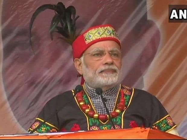 The govt is executing 15 new rail lines for nearly 14000 km length, this will cost Rs 47,000 Cr and boost infrastructure in the North-East region: PM Modi in Shillong. (Photo: ANI)