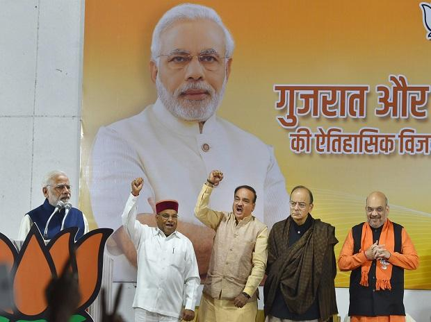 Prime Minister Narendra Modi with BJP President Amit Shah, Arun Jaitley, Ananth Kumar and TC Gehlot at a felicitation function in New Delhi on Monday, after the party's win in Gujarat and Himachal Pradesh Assembly elections.  Photo: PTI