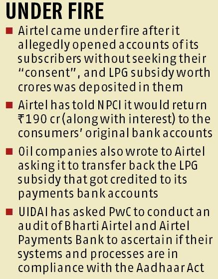 Will return Rs 190 cr subsidy to original accounts: Airtel to NPCI