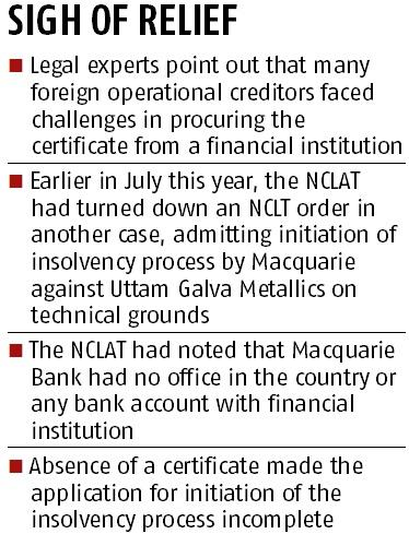 Banks' certificates not must for triggering insolvency