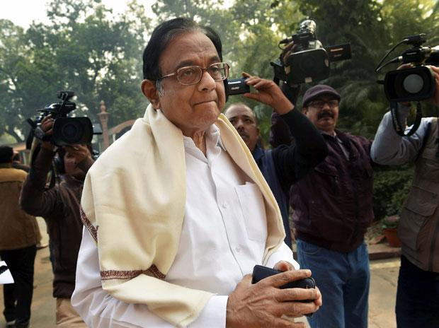 Congress leader and former Union Finance Minister P. Chidambaram outside the Parliament House in New Delhi