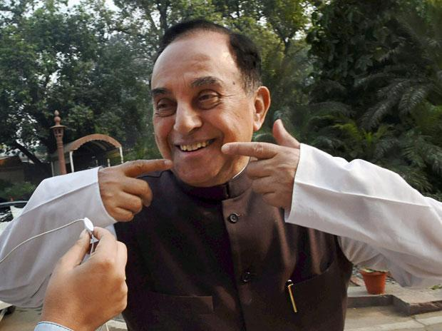 BJP leader Subramanian Swamy, who was one of the petitioners and on whose plea a CBI probe was ordered in 2G case, at Parliament in New Delhi