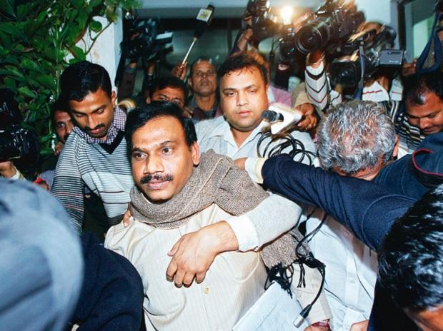 India's former telecom minister A Raja comes out of a CBI office in New Delhi on December 24, 2010. Photo: Reuters