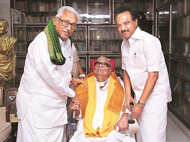 DMK Working President M K Stalin (right) and senior leader K Anbhazhagan (left) calling on ailing DMK Chief M Karunanidhi to apprise him of the acquittal of A Raja and Kanimozhi  in the 2G scam case, in New Delhi on Thursday. Photo: PTI