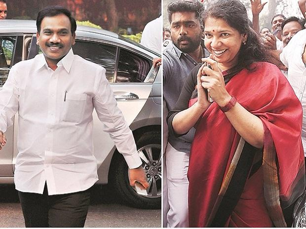 From left: Former telecom minister A Raja and DMK MP Kanimozhi after they were acquitted in the 2G scam case in New Delhi on Thursday. Photos: Reuters