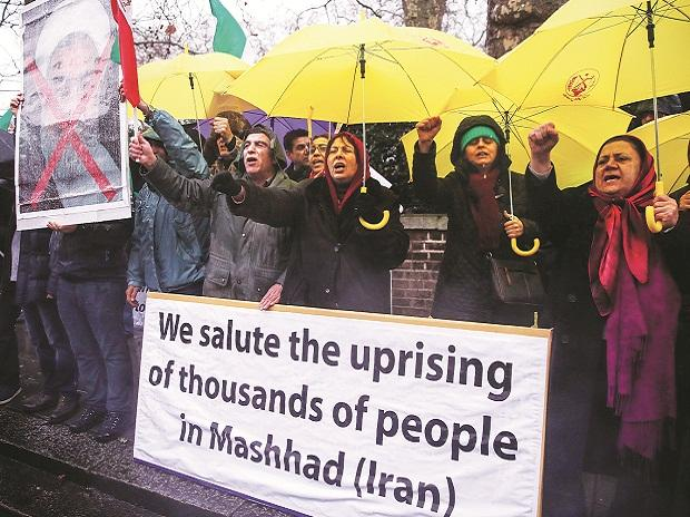 Opponents of President Hassan Rouhani hold a protest outside the Iranian embassy in west London on Sunday. File Photo: Reuters