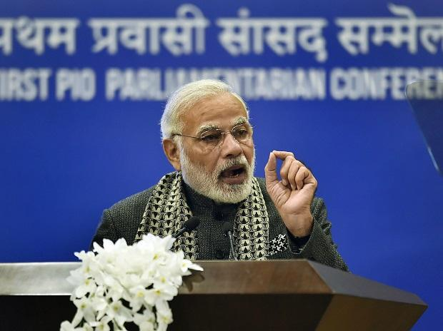 Modi at the First PIO conference. Photo: PTI