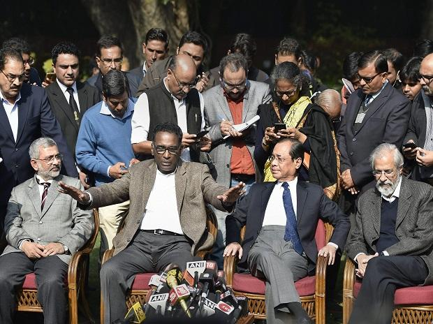 Supreme Court judge Justice Chelameswar along Justice Ranjan Gogoi, Madan Lokur and Kurian Joseph during a press conference in New Delhi on Friday. Photo: PTI