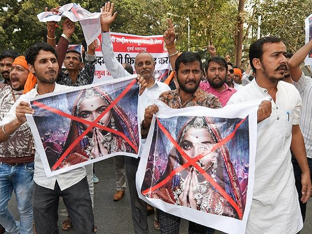 Karni Sena activists protest over the clearance of film 'Padmavati' by the CBFC, in Mumbai. Photo: PTI
