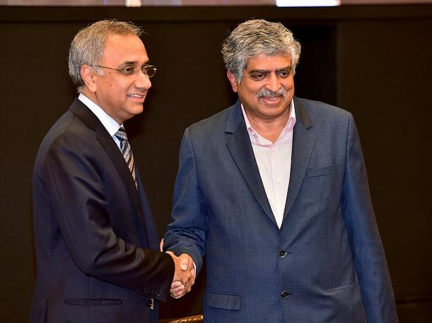 Newly Appointed Infosys CEO Salil Parekh with Co-founder and Non-executive Chairman Nandan Nilekani. Photo: PTI