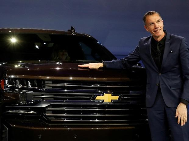 General Motors Global Design chief Michael Simcoe helps unveil new Chevy Silverado trucks at the North American International Auto Show in Detroit. Photo: Reuters