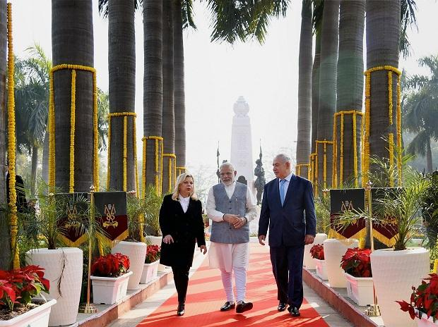 Prime Minister Narendra Modi, his Israeli counterpart Benjamin Netanyahu and his wife Sara at the newly renamed Teen Murti Haifa Chowk in New Delhi. Photo: PTI