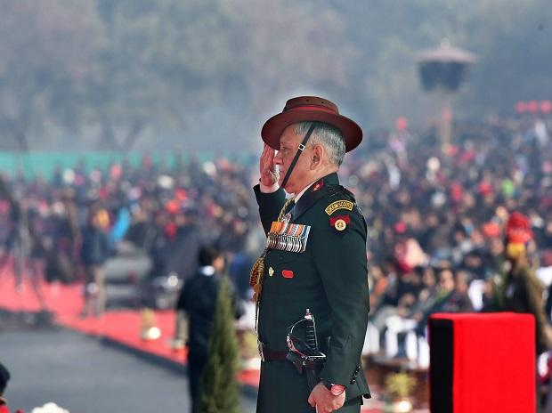 Army Chief Gen Bipin Singh Rawat takes a salute during the Army Day parade in New Delhi. Photo: PTI