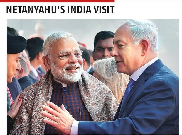 Prime Minister Narendra Modi with Israeli counterpart Benjamin Netanyahu during a ceremonial reception at the Rashtrapati Bhavan in New Delhi on Monday. Photo: PTI