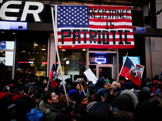 In pics: Haitian-Americans protest Donald Trump's 'racism' at Times Square
