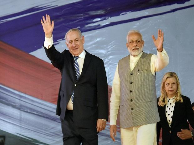 Prime Minister Narendra Modi with his Israeli counterpart Benjamin Netanyahu during the inauguration of the International Center For Entrepreneurship & Technology - iCreate at Deo Dholera village in Ahmedabad