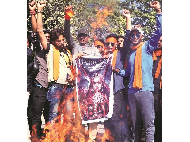Karni Sena members protest against the release of  Padmaavat at Beawar in Rajasthan | File Photo: PTI