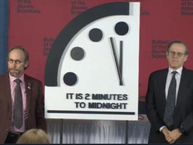 Doomsday Clock now 2 minutes to midnight, closest since Cold War