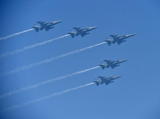 IAF's Jaguar planes fly-past during 69th Republic Day Parade at Rajpath in New Delhi. Photo: PTI