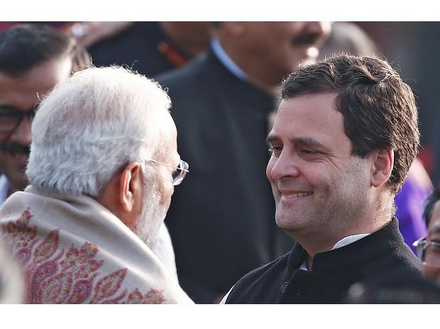 PM Modi and Rahul Gandhi at 69th Republic Day celebrations at Rajpath. Photo: Reuters