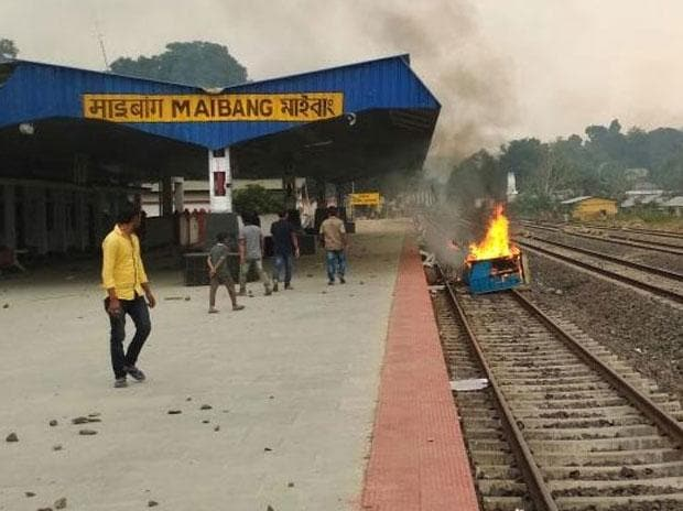 Protesters clashed with the police at the Maibong railway station