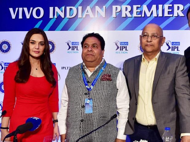 Kings XI Punjab co-owner Priety Zinta, IPL Chairperson Rajiv Shukla, BCCI secretary Amitabh Choudhary pose for a photograph during a press conference at the side line of the IPL auction 2018. Photo: PTI