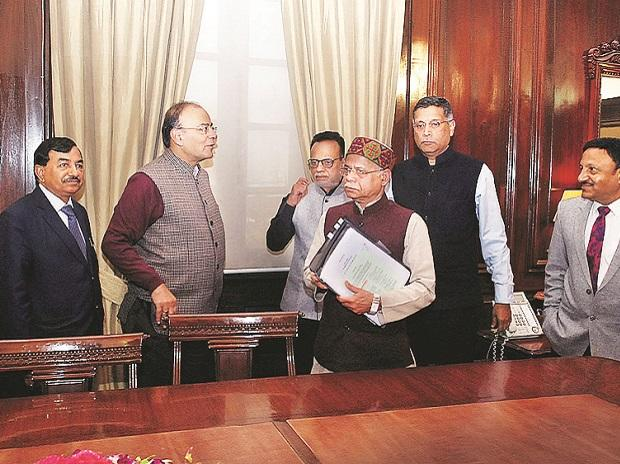Finance Minister Arun Jaitley with some members of his Budget team while giving final touches to the Union Budget in New Delhi on Wednesday