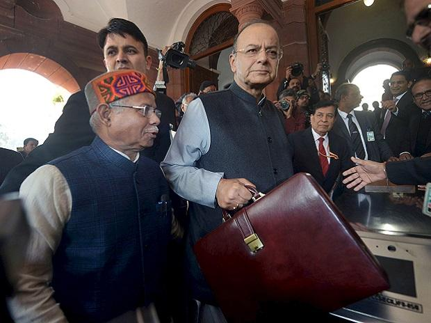 Union Minister for Finance and Corporate Affairs Arun Jaitley with the Minister of State for Finance Shiv Pratap Shukla arrives at Parliament House to present the Union Budget 2018-19, in New Delhi on Thursday   Photo: PTI